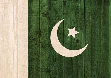 vector flag  pakistan painted  wooden background