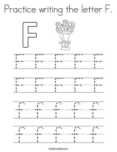 practice writing the letter f coloring page twisty noodle