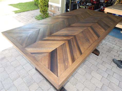 Hand Made Chevron Style Trestle Leg Wood Dining Table By