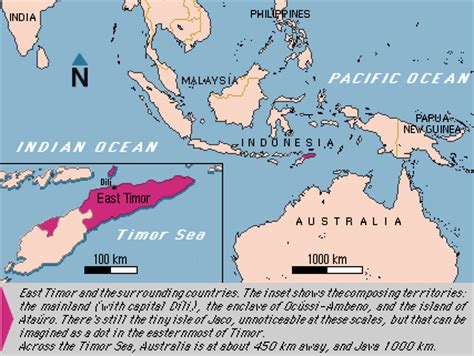 map showing east timor indonesia  australia