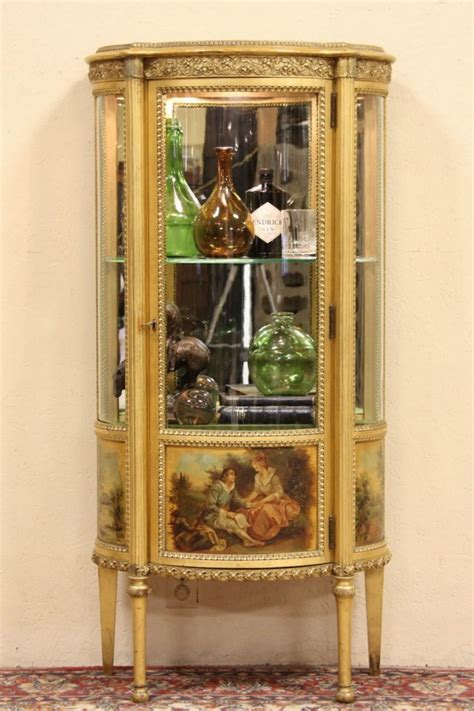 sold curved glass gold leaf french vitrine  curio display cabinet harp gallery