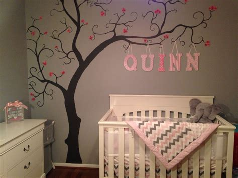 baby girl nursery grey pink  white tree art wall