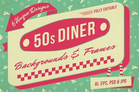 50s Diner Menu Template by 1950s Backgrounds And Frames For Photoshop And Illustrator