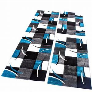 Teppich Bettumrandung Ikea : bettumrandung l ufer teppich kariert in t rkis grau schwarz wei l uferset 3 tlg alle teppiche ~ Orissabook.com Haus und Dekorationen