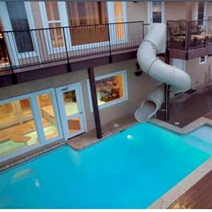 24 Awesome Home Indoor Pool Design With Slide To Make Your ...