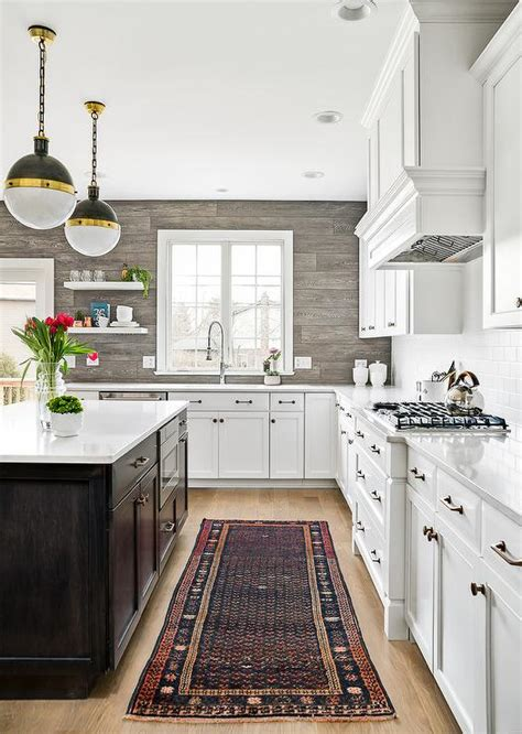 brown kitchen cabinets  blue walls transitional