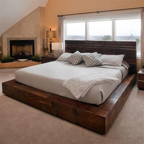 Wooden Bed Platform by Reclaimed Wood Platform Bed