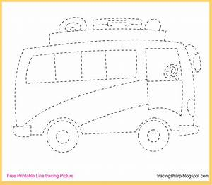 Free Tracing Line Printable: Bus Tracing Picture  Tracing