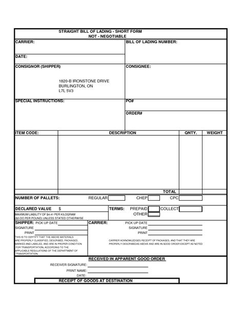 bol template blank bill of lading template mughals