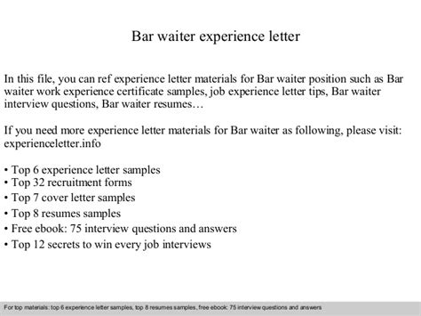 Cover Letter Waiter Without Experience by Bar Waiter Experience Letter