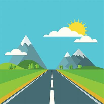 Road Background Clipart Landscape Mountains Vector Sky
