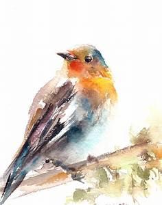 Robin Bird Art Print Wall Art Bird Painting by CanotStopPrints