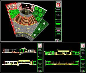hitheater project in autocad cad 1 08 mb