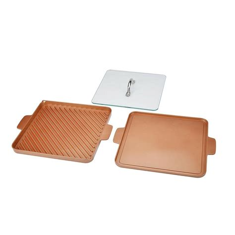 copper chef  stick stove top grill  griddle pan copper buysbest