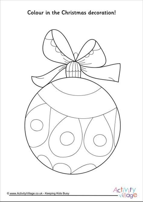 activity village christmas decoration colouring page