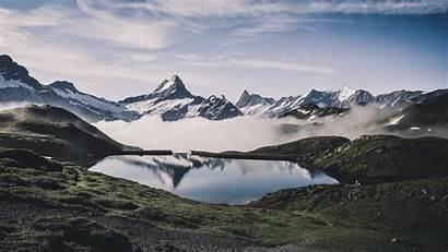Mountains Fog Lake Nature Background Landscape 1080p