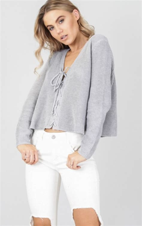 v neck sweater with tie grey tie up v neck sweater by showpo ustrendy