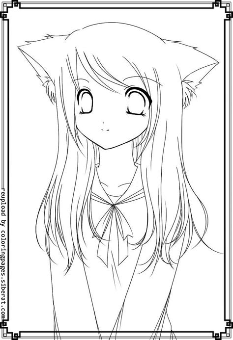 cute anime coloring pages cat girl easy cartoon drawings