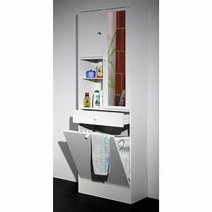 Armoire Pour Salle De Bain : armoire salle de bain bac linge int gr blanc ~ Edinachiropracticcenter.com Idées de Décoration