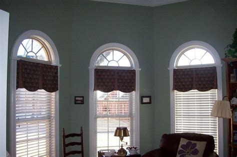 blind curtains valances arched windows in bay inside