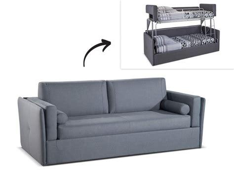 canapé convertible en lit superposé canapé 3 places convertible superposé en tissu gris chana