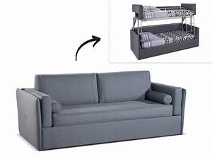 Canape 3 places convertible superpose en tissu gris chana for Lit canapé convertible