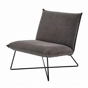 Canapé Maison Du Monde Gris : fauteuil en coton gris lucas maisons du monde ~ Dallasstarsshop.com Idées de Décoration