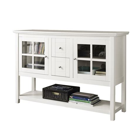 white buffet table with wood top 52 quot wood console table tv stand white
