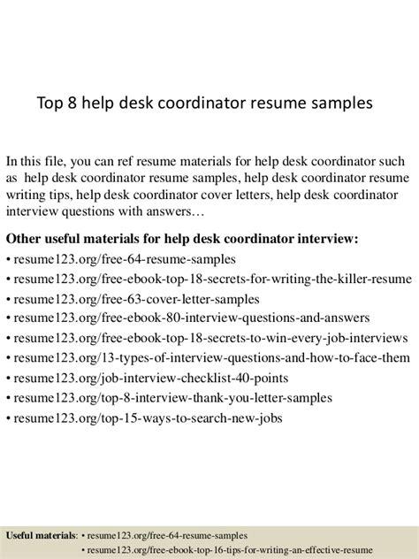 help desk coordinator top 8 help desk coordinator resume sles