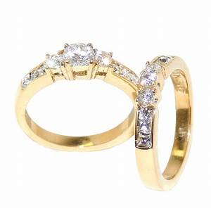 Gold engagement rings sets for women gold ion plated for Womens gold wedding rings