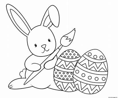 Easter Bunny Coloring Paint Pages Printable Graceful
