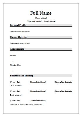Cv Format In Word by Cv Word Document Format