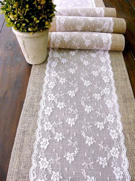burlap table runner with lace wedding table runner pink lace rustic chic wedding