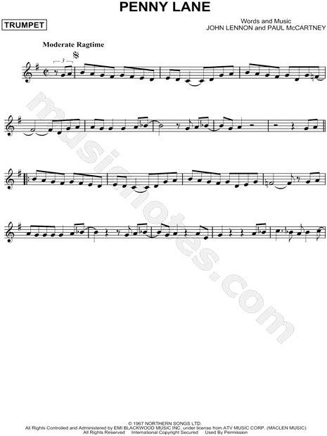 beatles penny lane sheet  trumpet solo