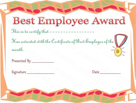 funny  employee award  certificate template