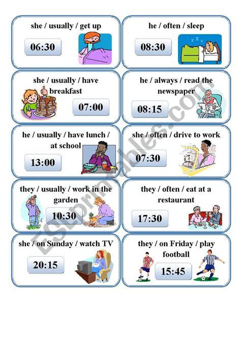 speaking cards present simple esl worksheet  monika