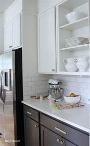Favorite antique white paint subway tile backsplash for Kitchen colors with white cabinets with subway wall art