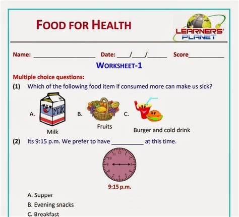 food worksheets for grade 2 food