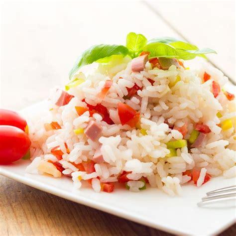 recette cuisine facile rapide recette salade de riz aux légumes et dés de jambon facile
