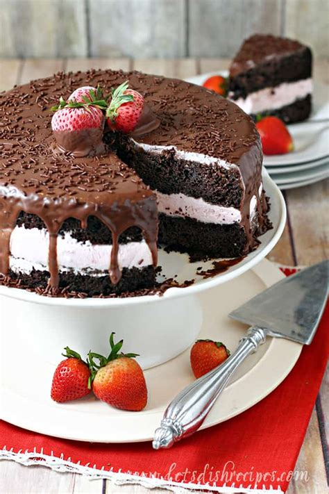 chocolate covered strawberry ice cream cake lets dish