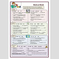 Work On Words (exercises)  Esl Worksheets Of The Day  English Grammar Worksheets, English