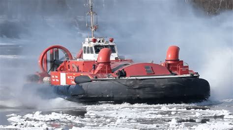 canadian coast guards hovercraft breaking  river ice