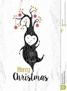 Merry Christmas Black White Elf Tree Xmas Retro Stock ...