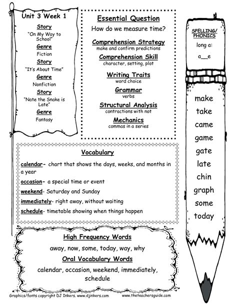 2nd grade curriculum outline grade wonders unit three week one weekly outline