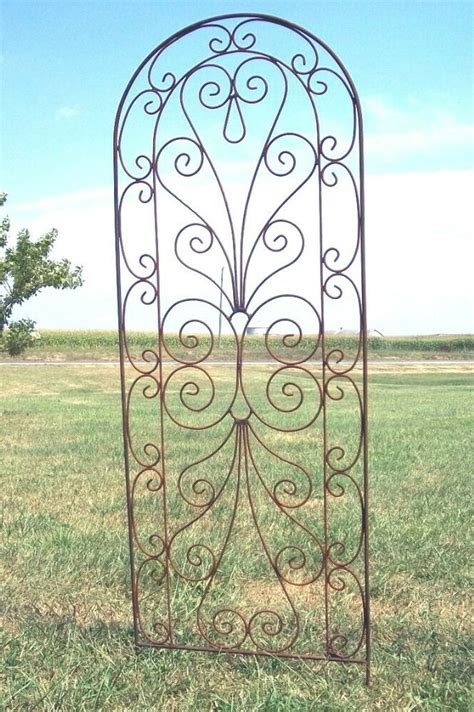 Wrought Iron Heart Trellis  Pretty Metal Support For
