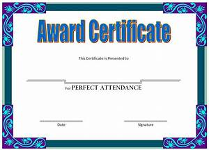 Perfect Attendance Certificate Template Perfect Attendance Certificate Template Image Collections Template Design Ideas