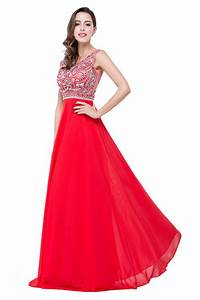 Sexy Red Long Crystal Beadings Prom Dress 2017 Chiffon ...