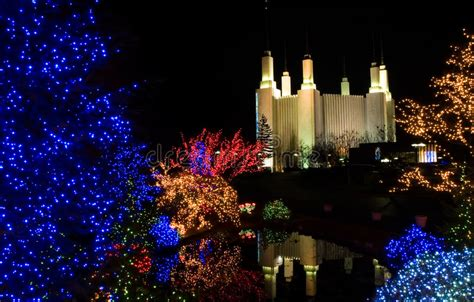 christmas at mormon temple stock image image of