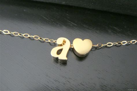 Initial Alphabets Necklace Of Name With Heart For Fb