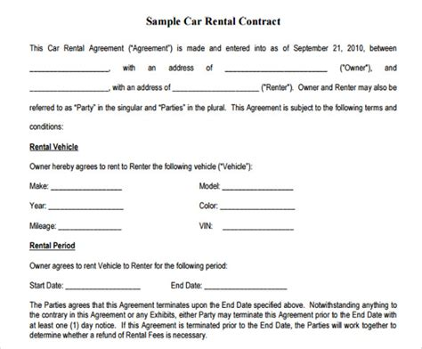 10+ Sample Basic Lease Agreement Templates